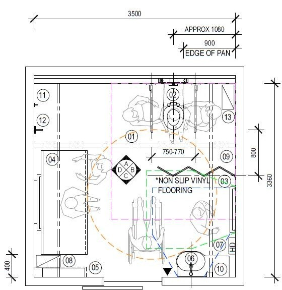 Option 1B. Changing Places toilets designs with plans   elevations